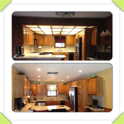 1980 s drop ceiling kitchen remodel before and after