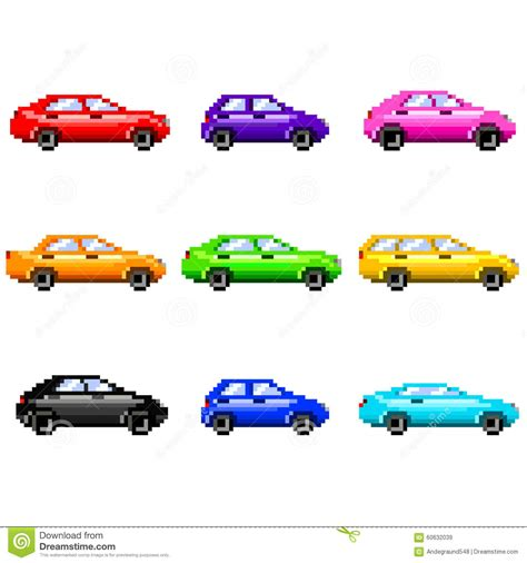 pixel car pixel cars for games icons vector set stock vector