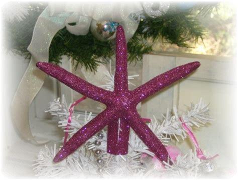 Handmade Tree Topper - handmade silver glittered starfish tree topper