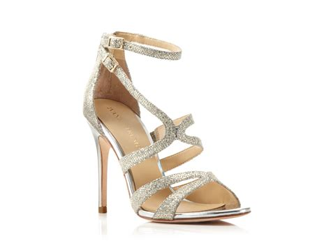 ivanka high heels ivanka strappy high heel evening sandals in metallic