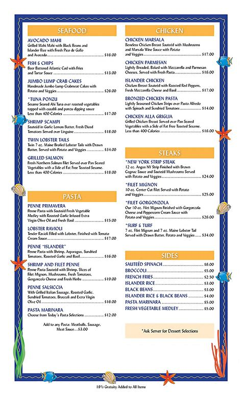 Tiki Bar And Grill by The Islander Tiki Bar And Grill Menu
