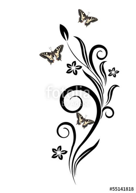 clipart fiori stilizzati quot fiori stilizzati e farfalle quot stock photo and royalty free