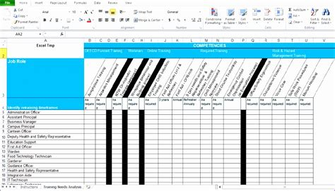 10 Training Matrix Excel Template Exceltemplates Exceltemplates Excel Skills Assessment Template