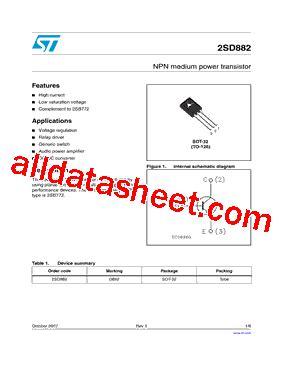 transistor d882 y datasheet d882 datasheet pdf stmicroelectronics