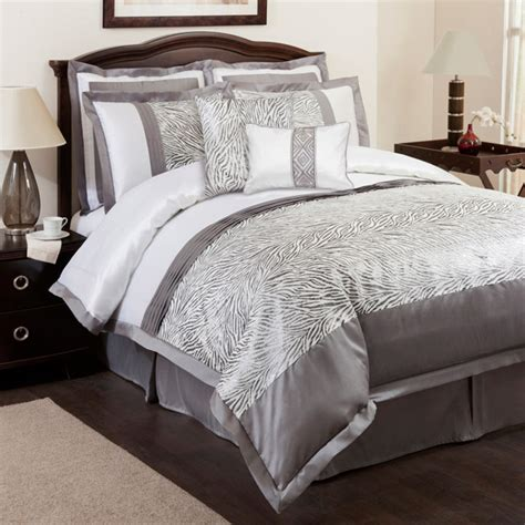 White And Grey Comforters by Zebra Bedding