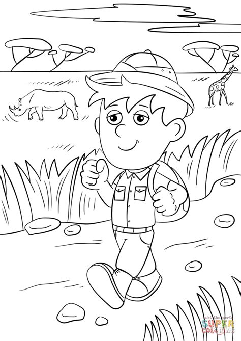 safari person coloring page safari explorer coloring page free printable coloring pages