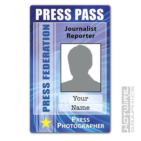 personalised printed novelty id press pass photographer