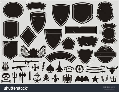 set designing military patches stock vector 252909175