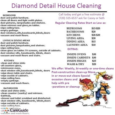 house cleaning rates archived diamond detail house cleaning new customer special 70 flat rate call us