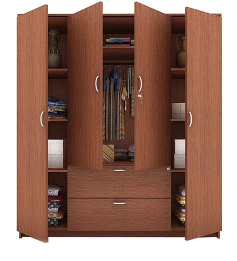 Buy Marc Four Door Wardrobe with Drawer in Oak Finish by Housefull Online   Modern   Wardrobes
