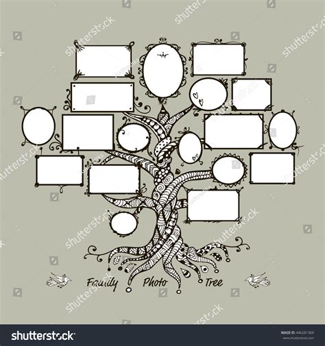 Family Tree Template Picture Frames Stock Vector 446281369 Shutterstock Family Tree Template Empty Frames Photos Stock Vector 656586004