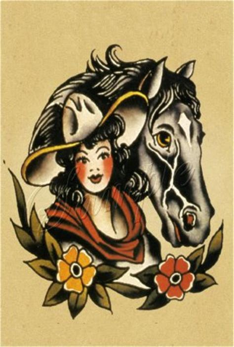 cowgirl pinup tattoos vintage western canvas large