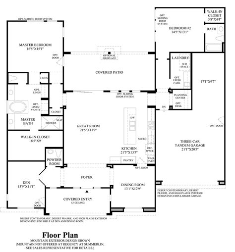 nv homes floor plans regency at summerlin pinnacle collection the marlette