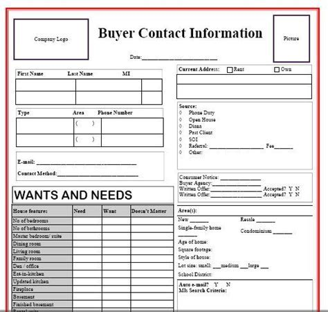Real Estate Client Information Sheet Template   Camper and Motorhome