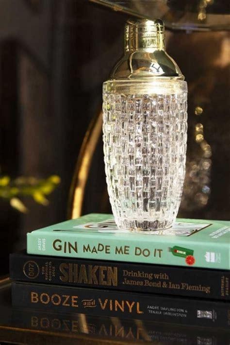 woven glass cocktail shaker  gold lid rockett st george