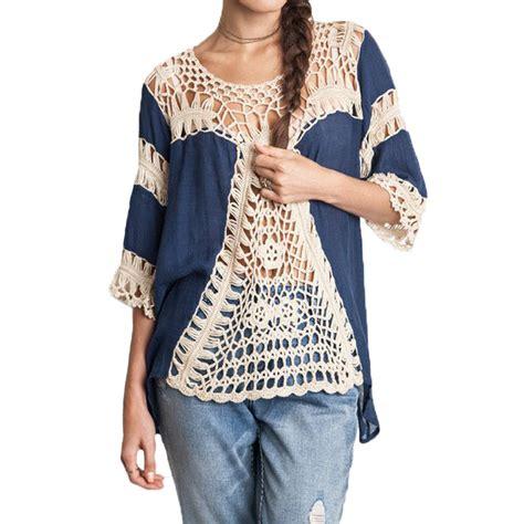 Crochet Oversized Shirt 11173 blouses oversized lace crochet knitted boho tunic plus size shirt tops ebay
