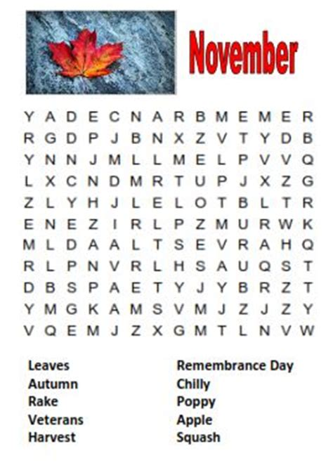 printable word search november november 2012 professor owl s book corner