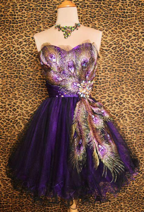 purple peacock prom cocktail evening mardi gras pageant