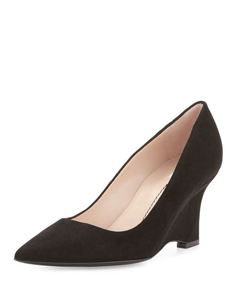 furla musa curved wedge pumps in black lyst