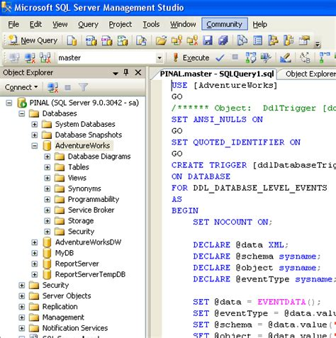 create schema sql server 2005 create script to copy database schema