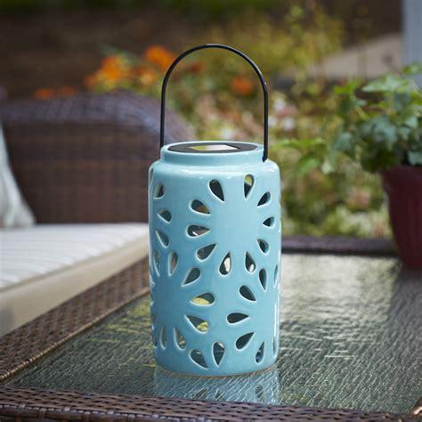 Ceramic Outdoor Lighting Essential Garden Small Ceramic Lanterns With Solar Light Blue Outdoor Living Outdoor