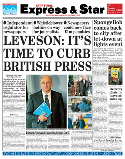 newspaper report regional daily with news of leveson report