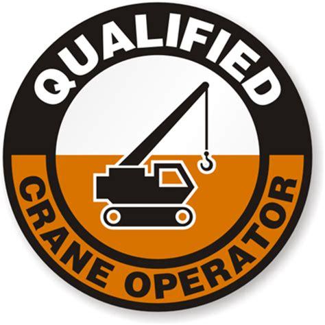 hard hat decals qualified crane operator signs sku hh 0090