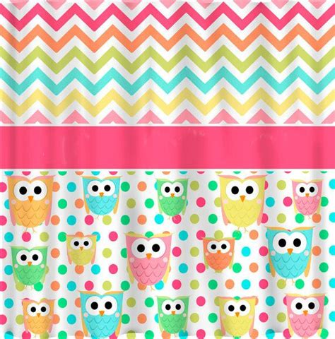 multi color chevron curtains custom owl and chevron shower curtain multi color by