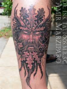 green man tattoo by amir marziparo tattoo pinterest