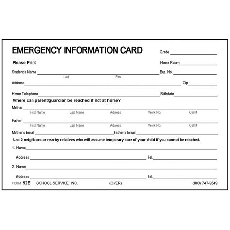 emergency information card template 52e large emergency information card 4 x 6 size
