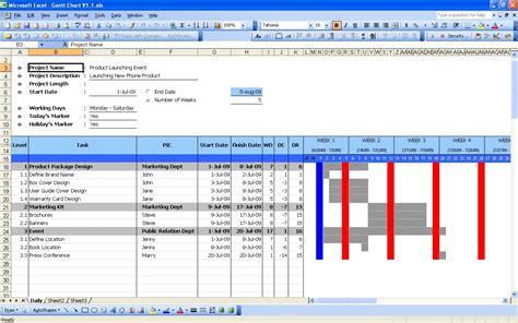 gantt chart excel templates