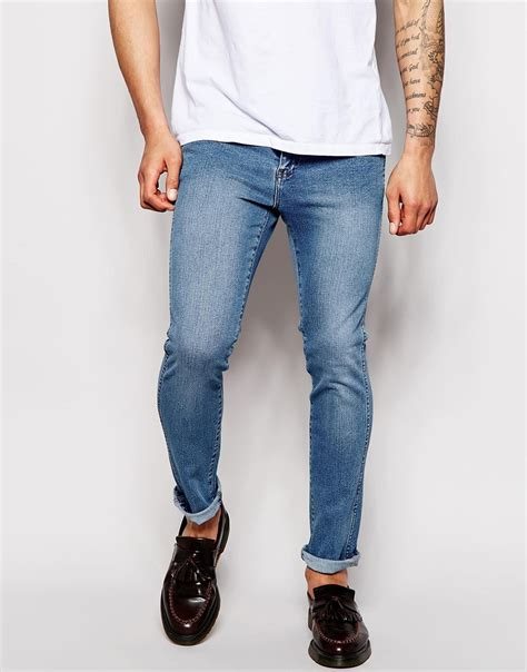 light stone washed denim jeans lyst dr denim jeans snap skinny fit light stone