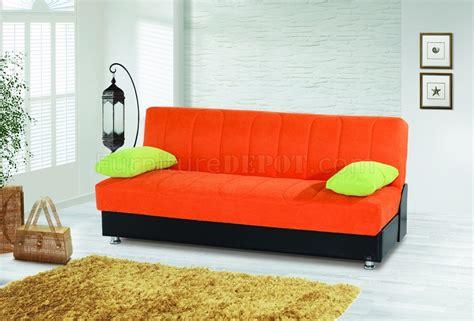Orange Microfiber Sofa by Sofa Bed Convertible In Orange Microfiber By