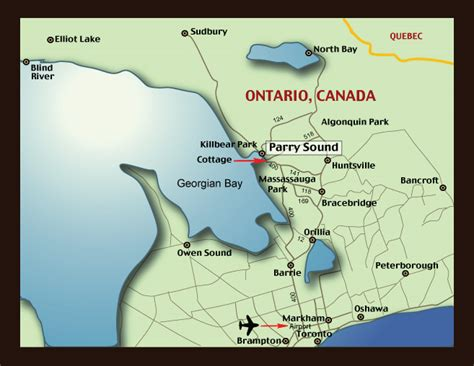 georgian bay canada map map of parry sound ontario cottage for rent