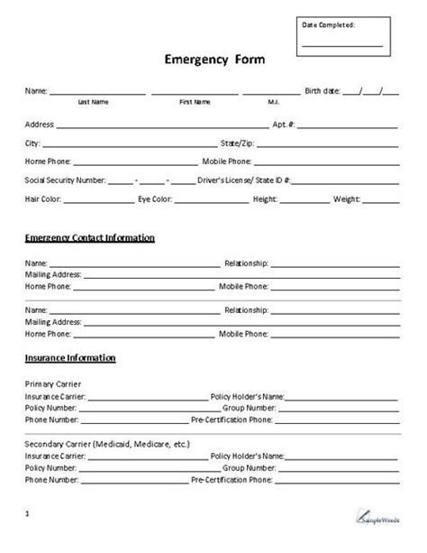 emergency contact form template for child emergency form contact daycare emergency