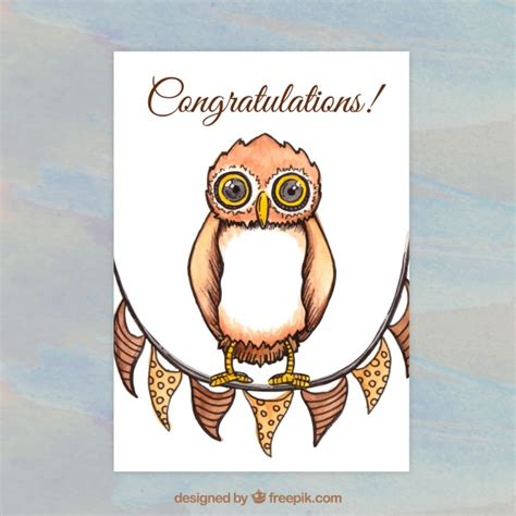 greeting card template with cute owl vector free download watercolor owl greeting card template vector free download