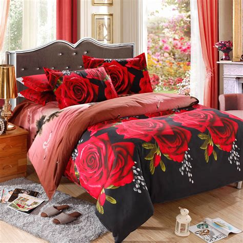 Bed Cover Rumbai Roses Import pattern 4pcs 3d printed bedding set bedclothes home textiles king size quilt cover bed