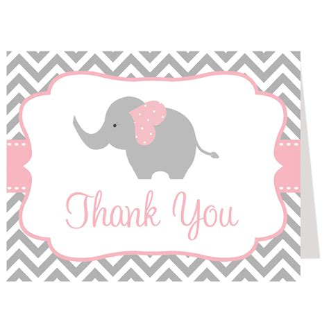 elephant thank you card template chevron elephant pink baby shower invitation the