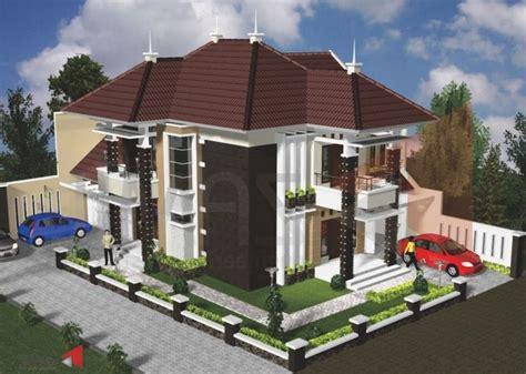 desain rumah mewah  lantai tampak depan samping