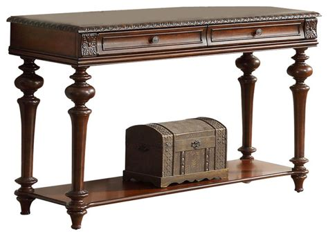 Traditional Sofa Table by Homelegance Westfeldt 2 Drawer Sofa Table In Rich Cherry