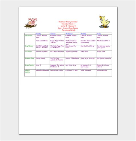 nursery daily diary template preschool calendar template 4 for daily weekly