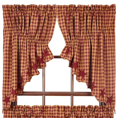 Burgundy Check Curtains And Check Scalloped Prairie Curtains Navy Black Burgundy 36 Quot Or 63 Quot Length Ebay