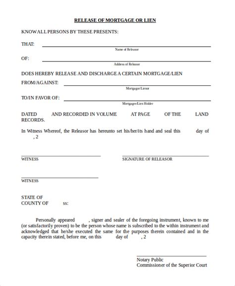 Mortgage Release Letter Sle Lien Release Form 11 Free Documents In Doc Pdf