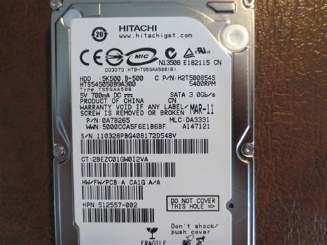 Harddisk Hitachi 500gb hitachi hts545050b9a300 pn 0a78265 mlc da3331 2 5 quot 500gb sata drive 890552650316 ebay