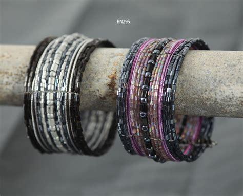 JLG Trading Ltd Beaded Cuff Bracelet in Black and Purple