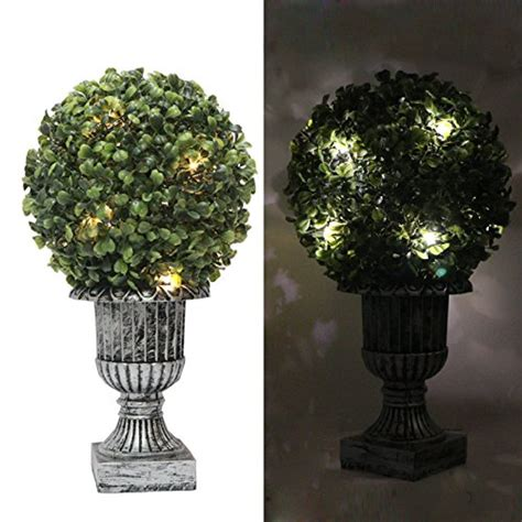 battery lit artficial topiaries 13 quot outdoor topiary artificial plants with battery operated 10pc led lights waterproof boxwood