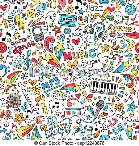 Cd Seamless Sl001 Free Size instruments doodle pattern groovy doodles