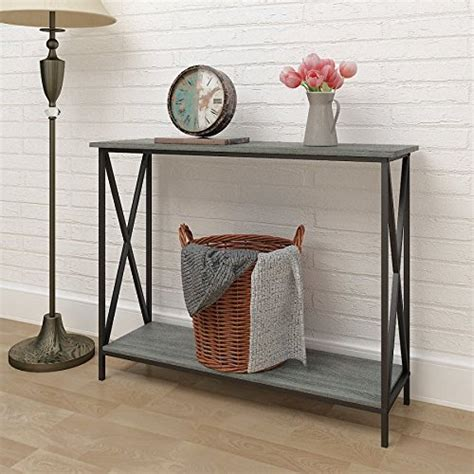console sofa table bookshelf weathered grey oak finish 3 tier metal x design occasional
