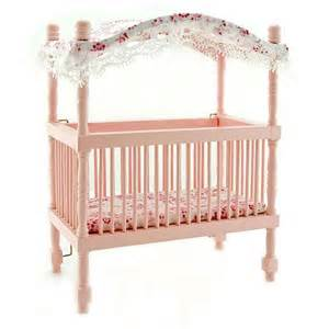 pink nursery baby room canopy crib dollhouse furniture