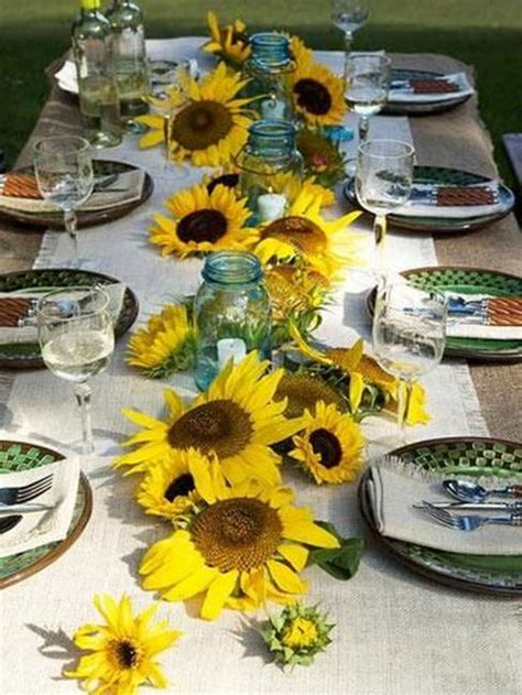 30 sunflowers table centerpieces adding yellow color - Sunflower Table Settings